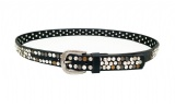Pu/  leather women belts with rivets and crystal